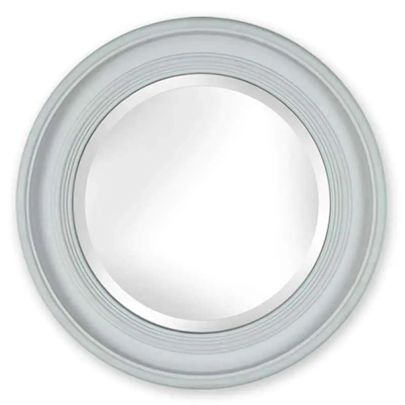 AMQ035 penrose round mirror with mineral blue distressed frame