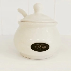 Country Kitchen sugar pot with ceramic spoon