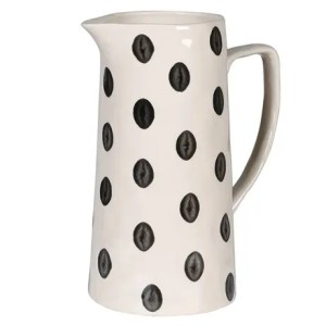 Jyy116 spotty water jug, cream with black spots