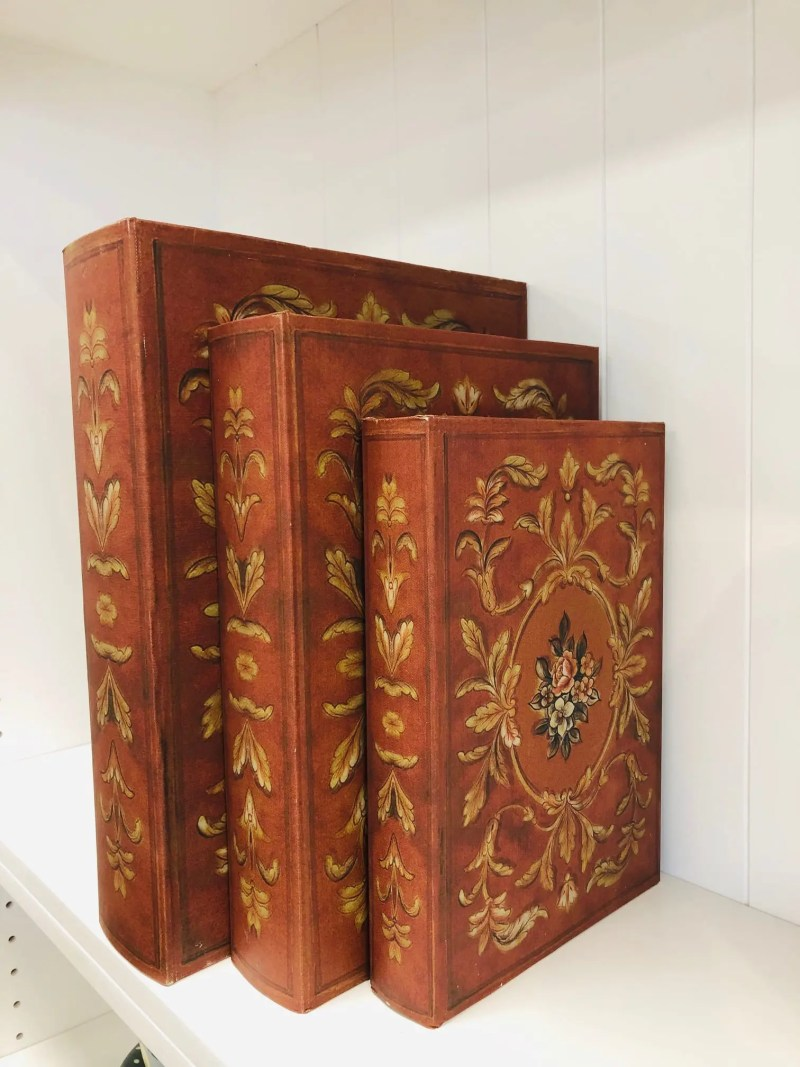 Red Set of 3 book boxes