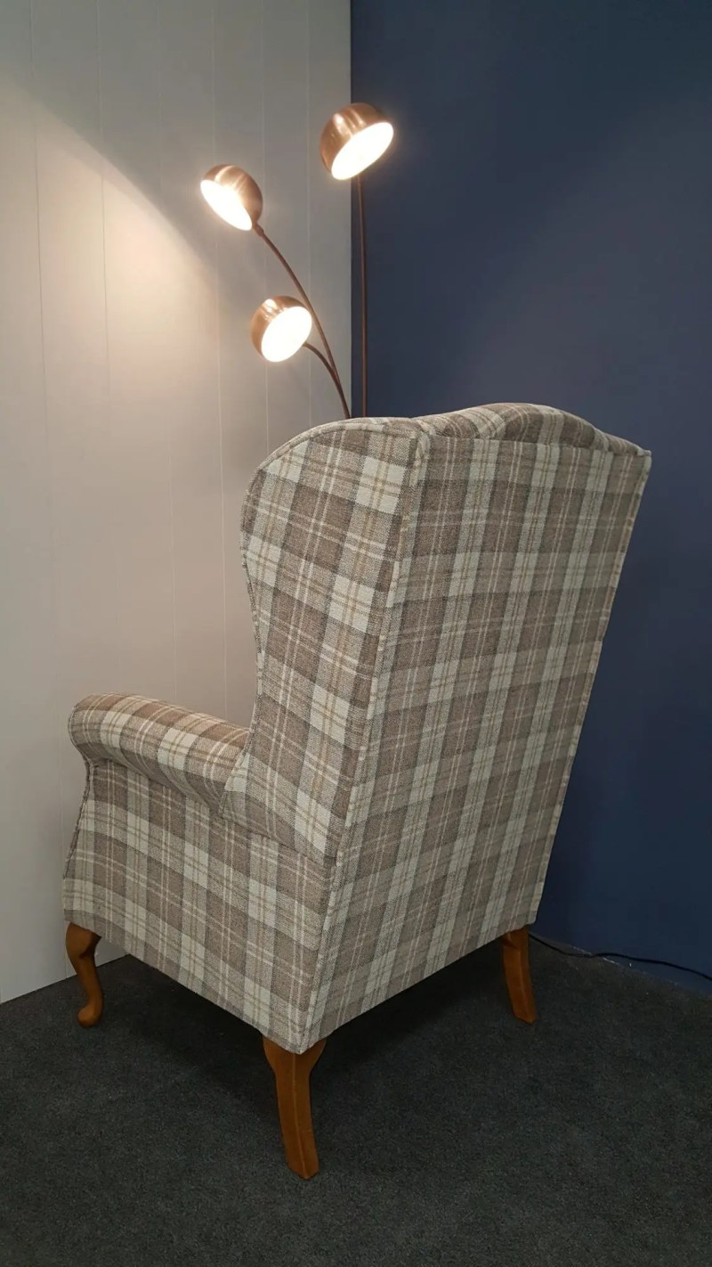 Fabric wing chair in checked fabric - many other fabrics to choose from