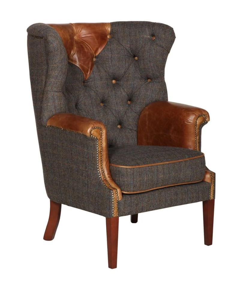 Vintage Sofa Company Kensington Fast Track Chair moreland tweed and cerato brown leather high back armchair