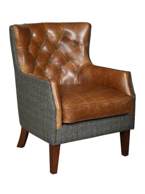 Vintage Sofa Company Stanford Fast Track Chair moreland tweed and cerato brown leather occasional armchair