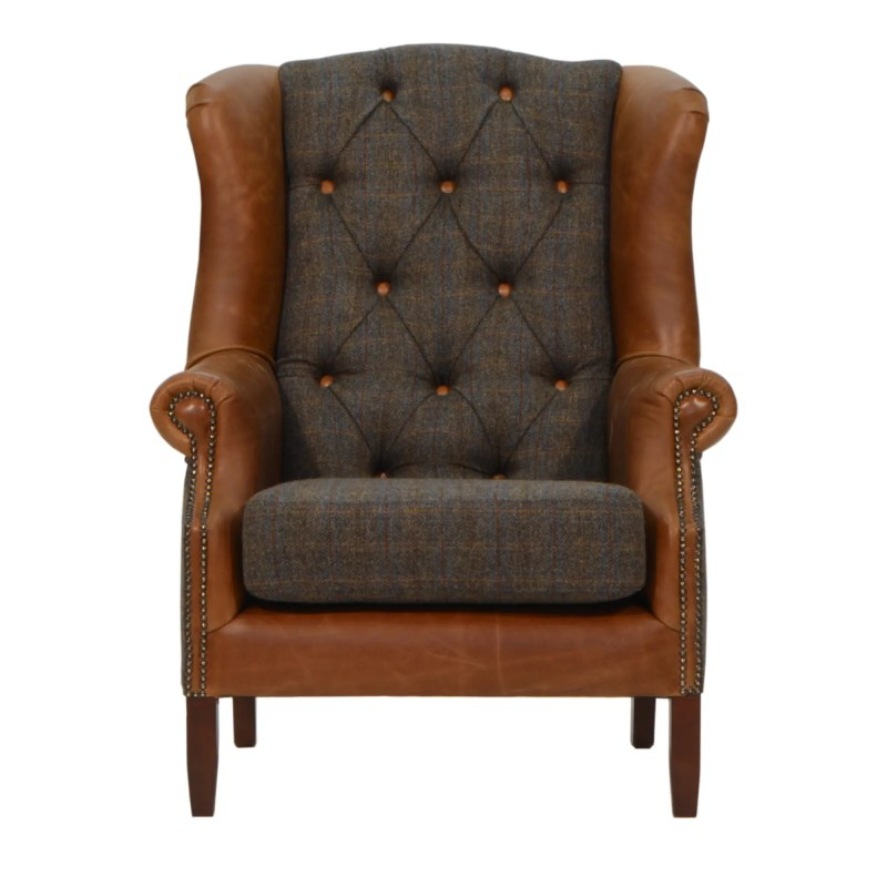 Harris Tweed Wing chair with cerato leather