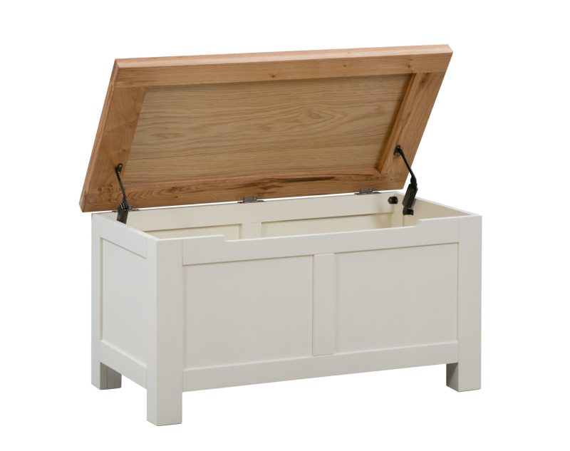 Dorset painted blanket box with oak top image showing open