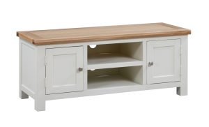 Dorset painted large tv unit with 2 doors and shelf in middle. painted with oak top