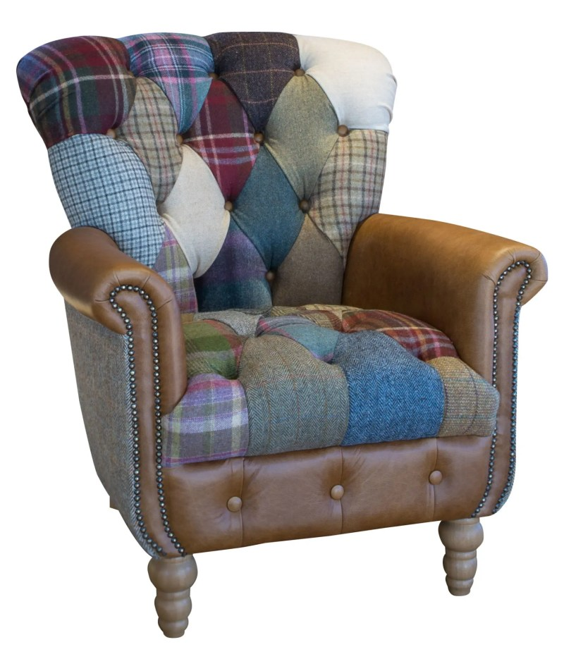 Vintage Sofa Co Gotham Harlequin Fast Track Chair in patchwork harris tweed and wool fabric with cerato brown leather arms and detailing on turned oak legs