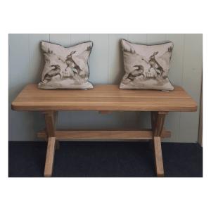 Cross leg bench assorted sizes solid oak