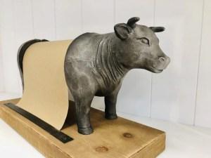 Bull kitchen roll holder Grey