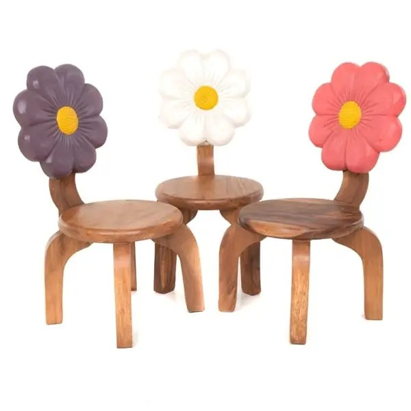 Childs Wooden Chairs With Purple White Pink Flower Carved and Painted on Back Rests