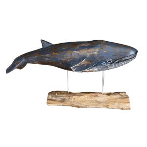 D406 Archipelago large blue whale wood carving no background