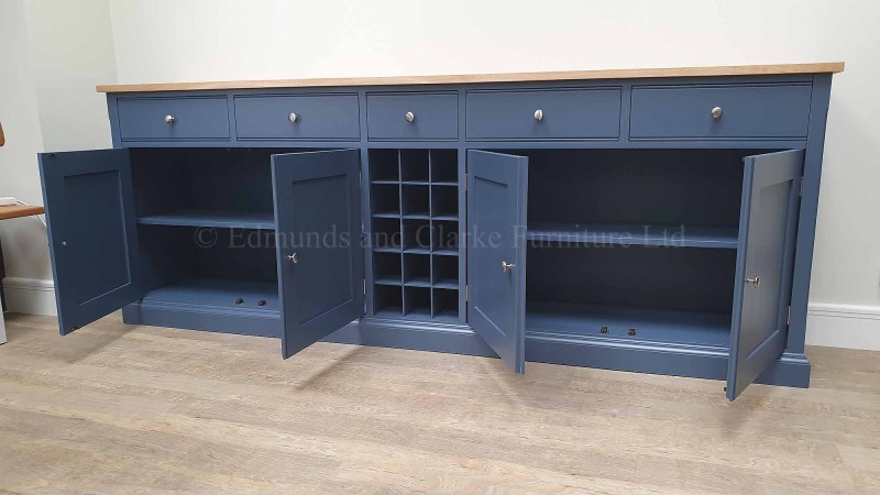 painted sideboard four drawers and doors central wine rack oak top