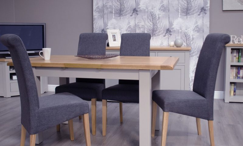 Diamond painted small extending dining table room set and chairs