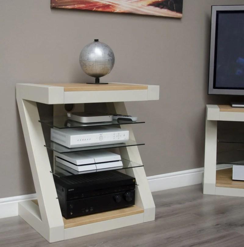 PZHIFI Z Design Painted Hifi Cabinet Natural oak top and shelf