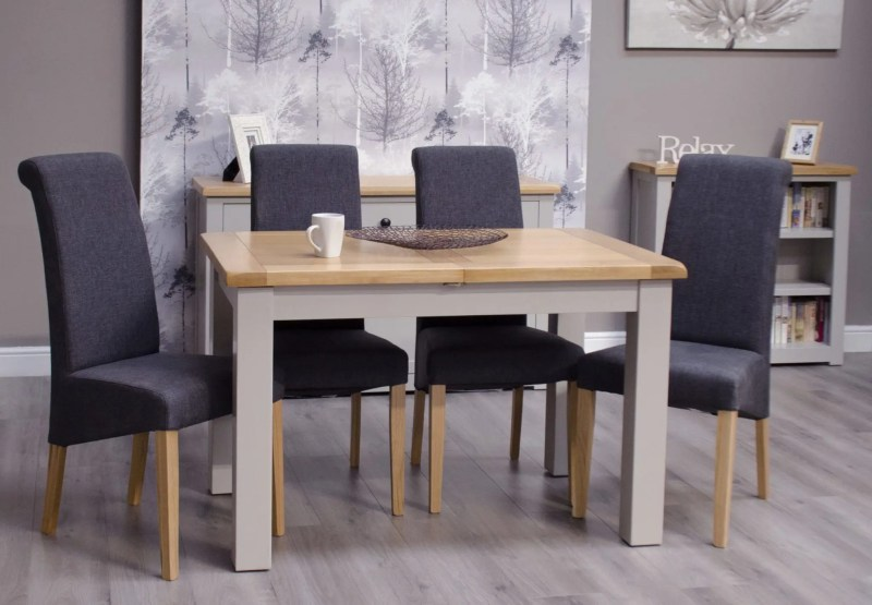 diamond painted small dining table room shot and grey chairs