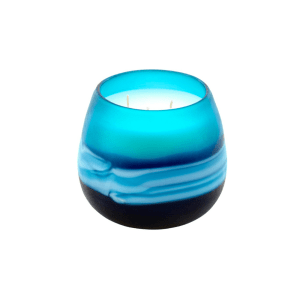 VG20029 INDRA BLUE 2 WICK SAND BLASTED CANDLE