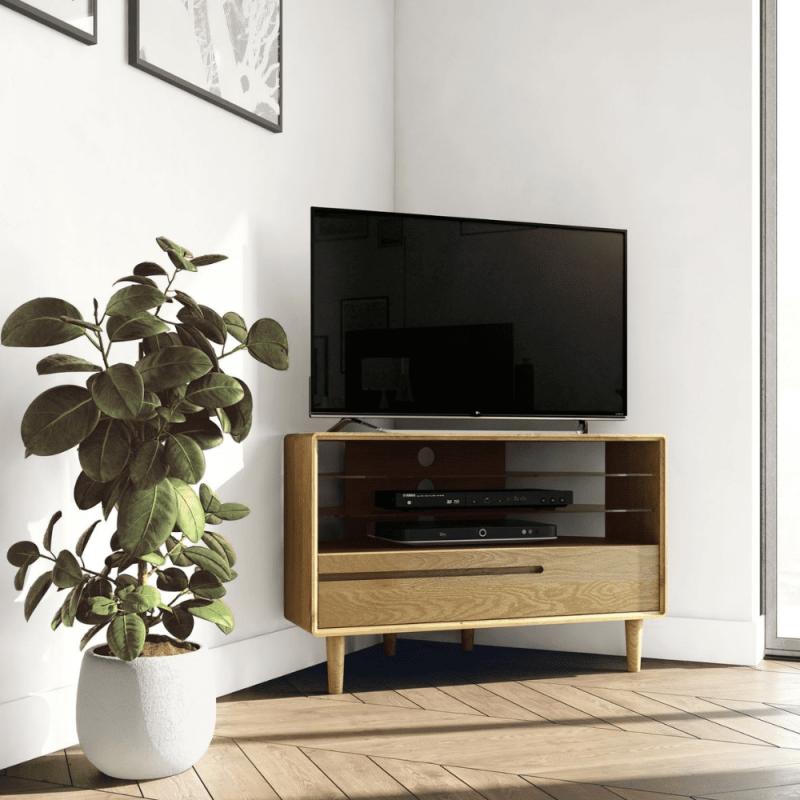 SCACORTV Scandic oak corner TV unit