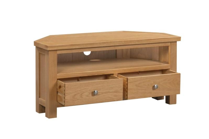 DOR074 Dorset oak LARGE TV corner tv unit open