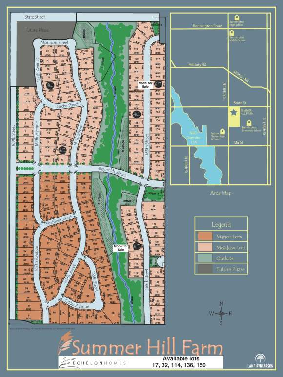 Echelon Homes - Summer Hill Farm - Available Lots - Lot 17, Lot 32, Lot 114, Lot 136, Lot 150