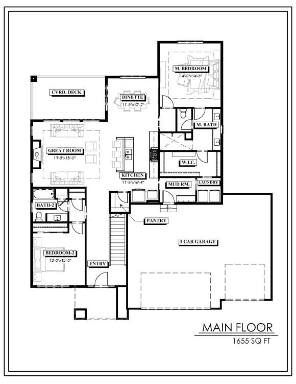 Echelon Homes - Tyler plan - Main floor plan