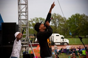 Lecrae, a popular Christian rapper, performs Photo by John Goodman Used under Creative Commons License