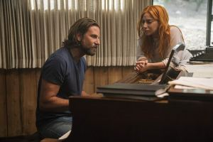 Cooper and Gaga at the piano playing