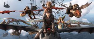 Hiccup and friends riding dragons into battle