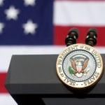 Presidential seal on a podium