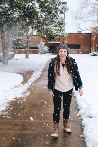 Student in the snow