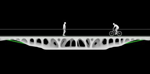 Post-tensioned 3D-printed bridges
