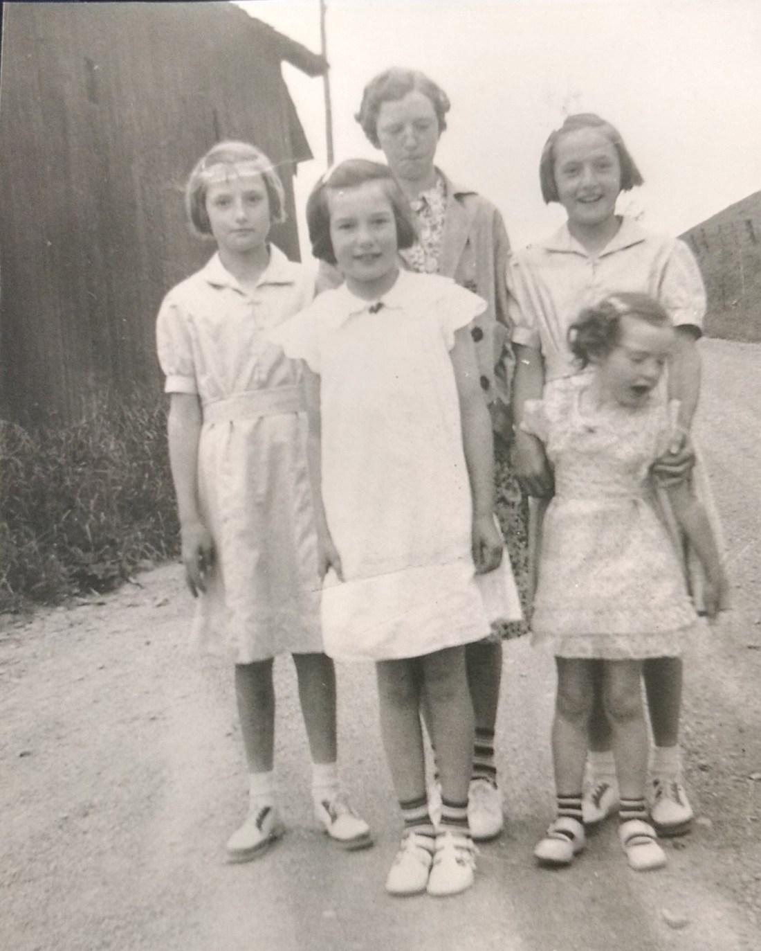 Christine Rachel, Claudien, Betty, Helen on their way to Sunday School