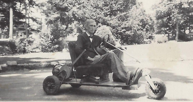 George S. Morgan used the cart as a means of attending to the livestock on the farm.