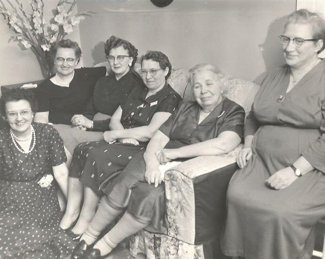 Left to right: Madeline Edwards Crawford (on floor), Stella Painter, Viola Grisso, Viola Martin, Essie Morgan, Maxie Morgan