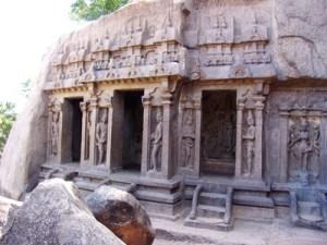 At Mahabalipuram, a site built during the Pallava dynasty