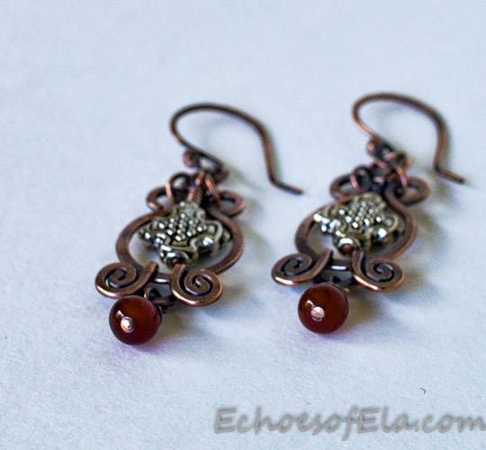 red-silver-copper-earrings