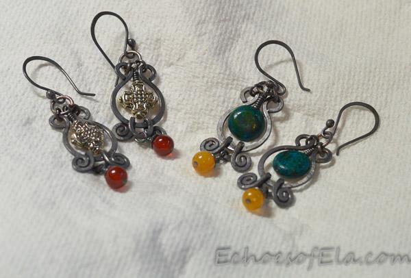 teal-yellow-bead-earrings