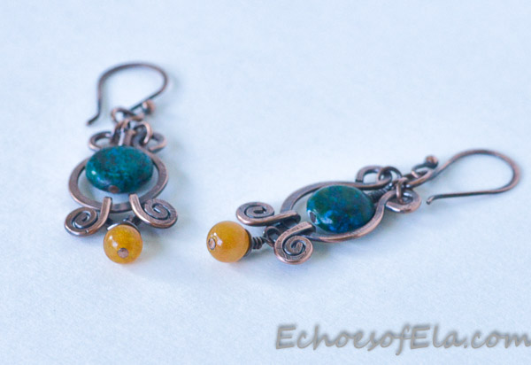 teal-yellow-copper-earring