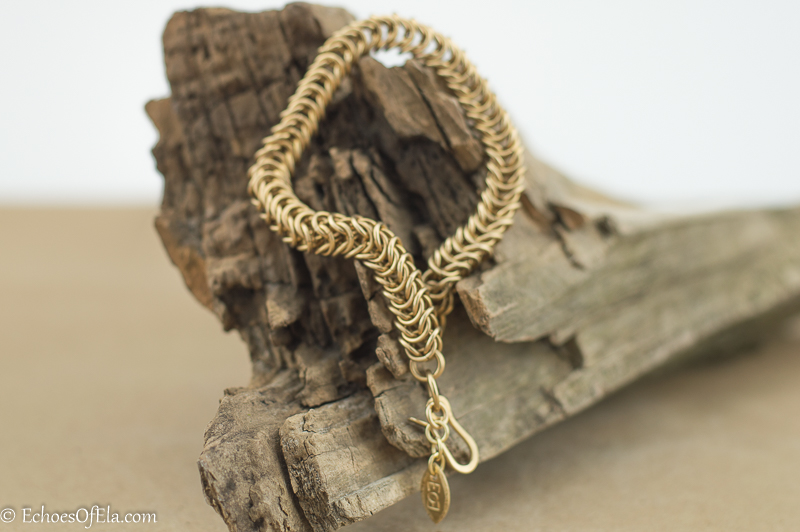 Box Braid Chain Maille Bracelet in Jewelers Brass