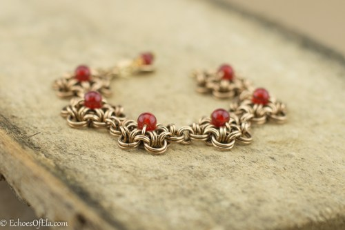 carnelian-brass-floral-chainmaille-bracelet6