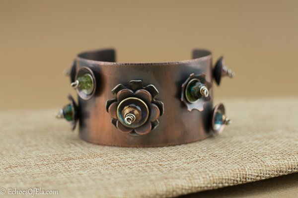 Copper Cuff with Sterling Silver and Bead Studs