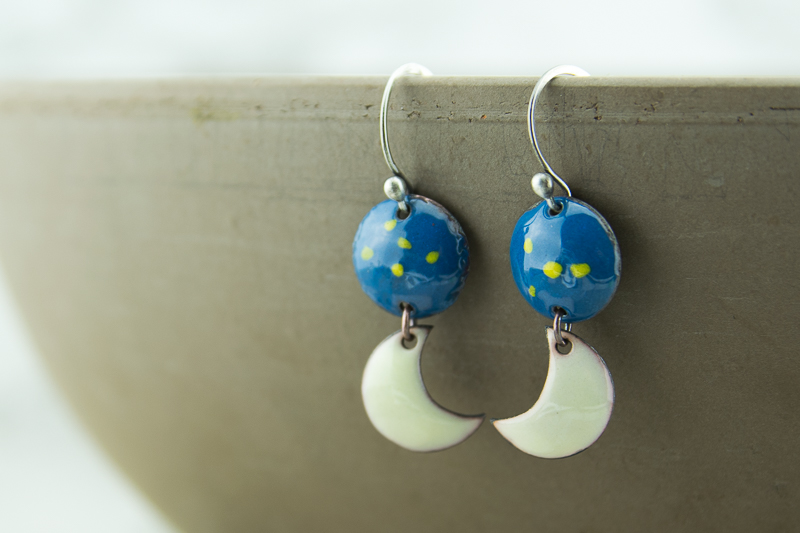 Moon and stars torch fired enamel drop earrings
