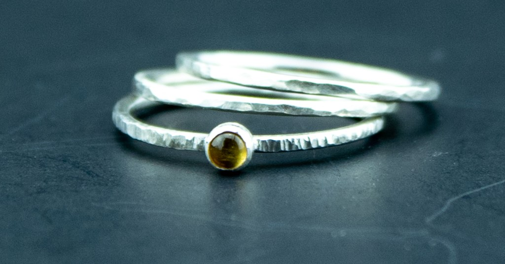 citrine and sterling silver textured stacking rings