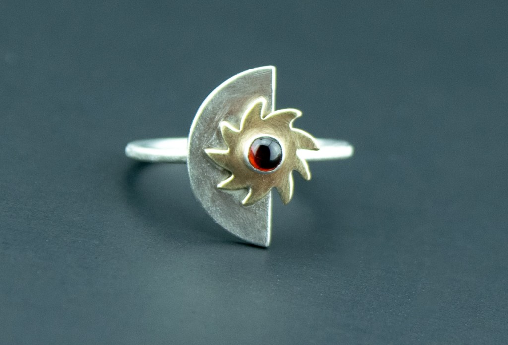 Silver Halfmoon and Sun Garnet Ring