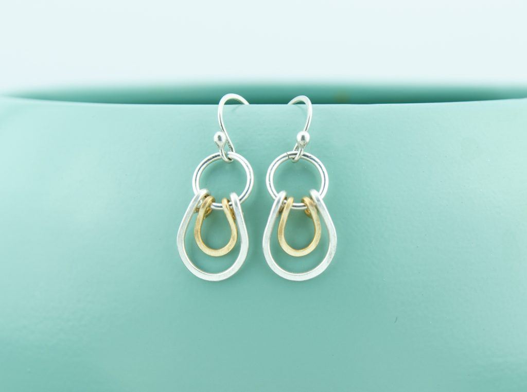 Sterling silver and Jewelers Brass Layered Horseshoe Earrings