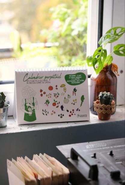 calendrier perpétuel des fruits et légumes du potager de balcon - petit calendrier paysage, A5 - échoppe végétale