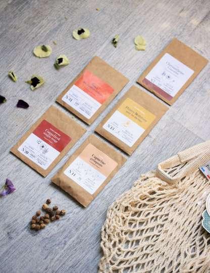 kit fleurs mellifères sur balcon, bio, fleurs pour les abeilles comestibles, chrysanthème comestible, capucine, coquelicot, souci, mélange pour abeilles et filet à provision de marché