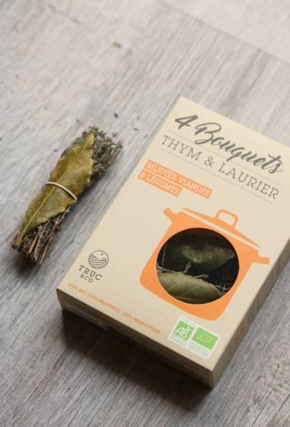 boite de bouquet garni thym et laurier, truc and co, bio pour échoppe végétale
