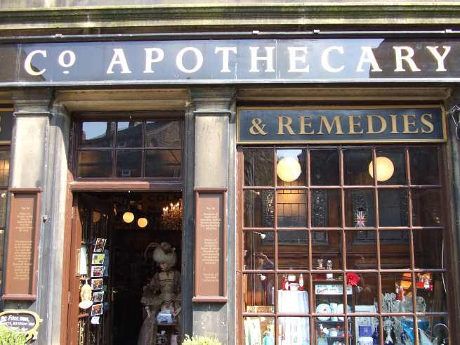 haworth-apothecary-window a wonderland of bygone products