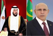 صورة ولد الغزواني يهنئ رئيس دولة الإمارات العربية المتحدة بمناسبة احتفالها بعيدها الوطني