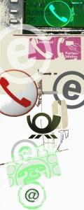 Collage aus Logos, Fotos, Symbolen, die mit Telefon und Kommunikation zu tun haben
